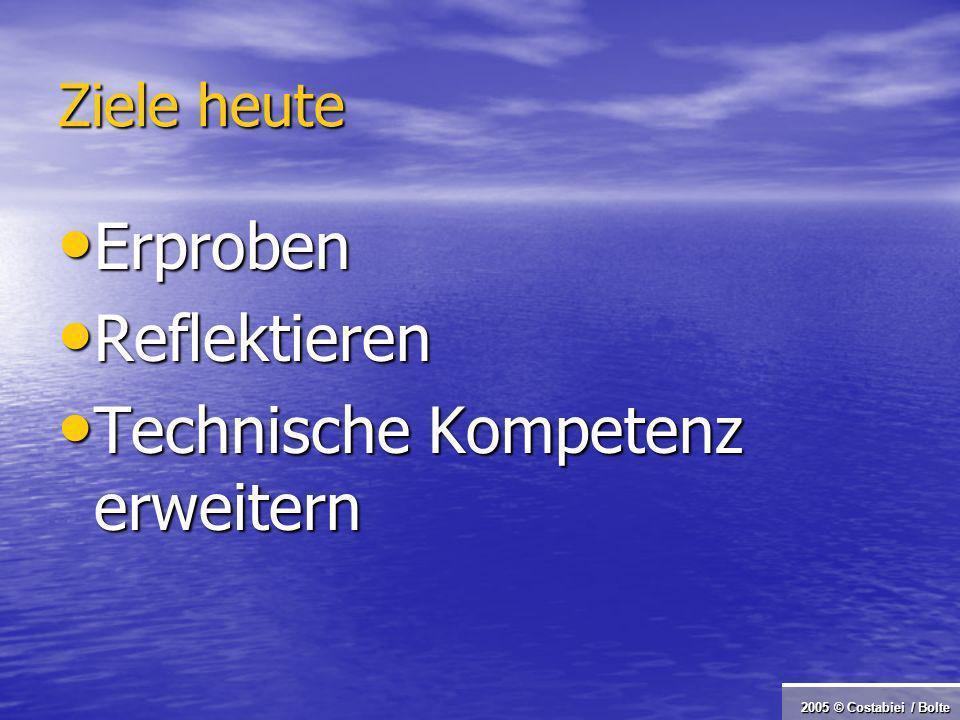 2005 © Costabiei / Bolte Ziele heute Erproben Erproben Reflektieren Reflektieren Technische Kompetenz erweitern Technische Kompetenz erweitern