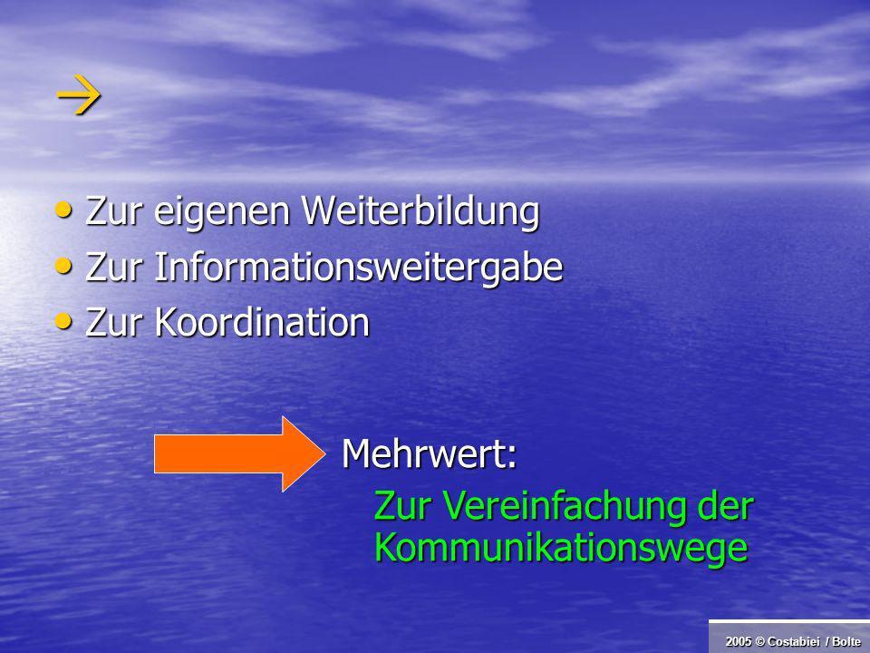 2005 © Costabiei / Bolte Zur eigenen Weiterbildung Zur eigenen Weiterbildung Zur Informationsweitergabe Zur Informationsweitergabe Zur Koordination Zur Koordination Mehrwert: Zur Vereinfachung der Kommunikationswege