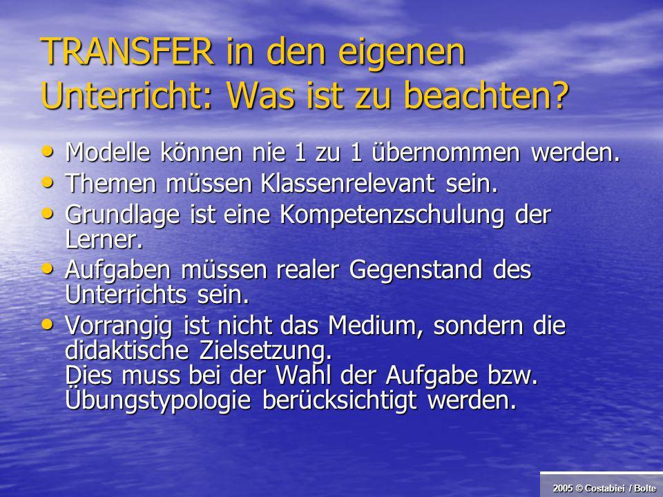 2005 © Costabiei / Bolte TRANSFER in den eigenen Unterricht: Was ist zu beachten.