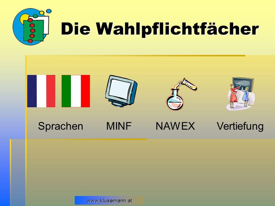 www.klusemann.at Die Wahlpflichtfächer SprachenMINF VertiefungNAWEX