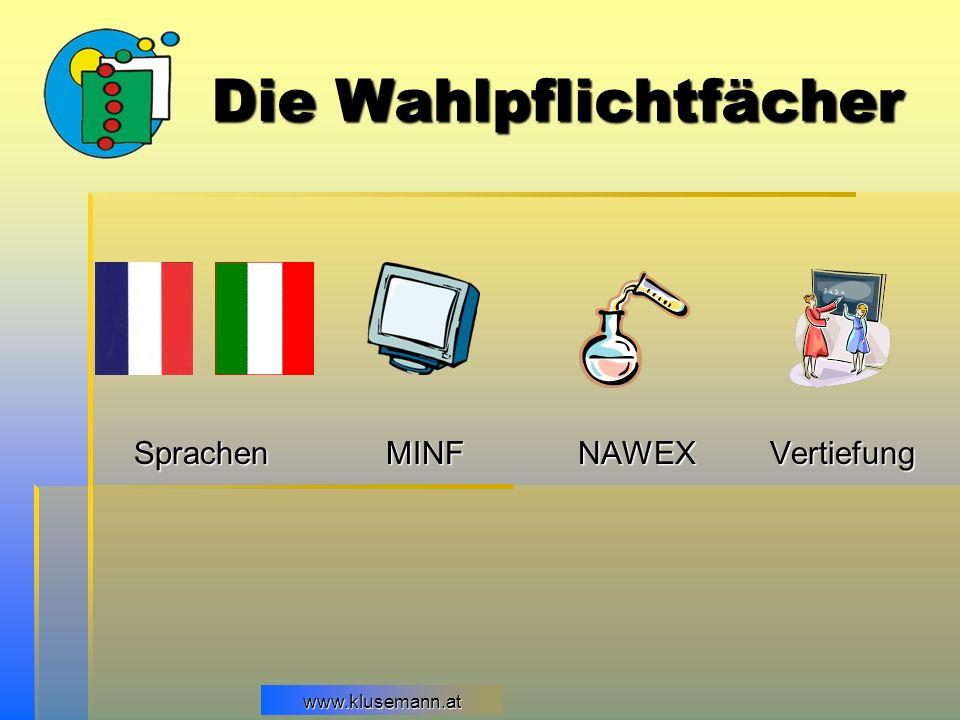 www.klusemann.at Die Wahlpflichtfächer SprachenMINFNAWEXVertiefung