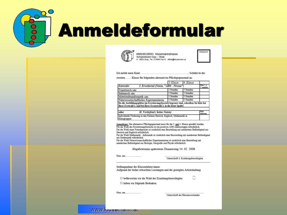 www.klusemann.at Anmeldeformular
