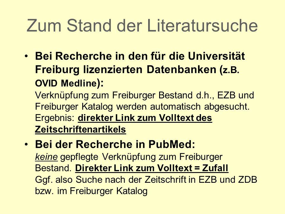 Bei Recherche in den für die Universität Freiburg lizenzierten Datenbanken ( z.B.