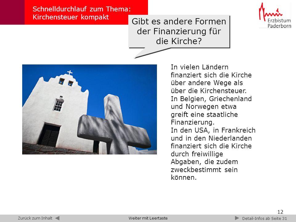 12 Schnelldurchlauf zum Thema: Kirchensteuer kompakt Gibt es andere Formen der Finanzierung für die Kirche? Detail-Infos ab Seite 31 In vielen Ländern