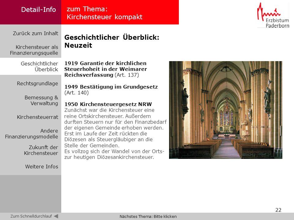 22 zum Thema: Kirchensteuer kompakt Zurück zum Inhalt Kirchensteuer als Finanzierungsquelle Bemessung & Verwaltung Geschichtlicher Überblick Rechtsgru