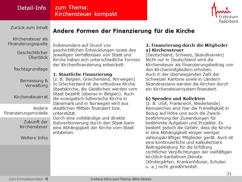 31 2. Finanzierung durch die Mitglieder a) Kirchensteuer (Deutschland, Schweiz, Skandinavien) Nicht nur in Deutschland wird die Kirchensteuer als Fina