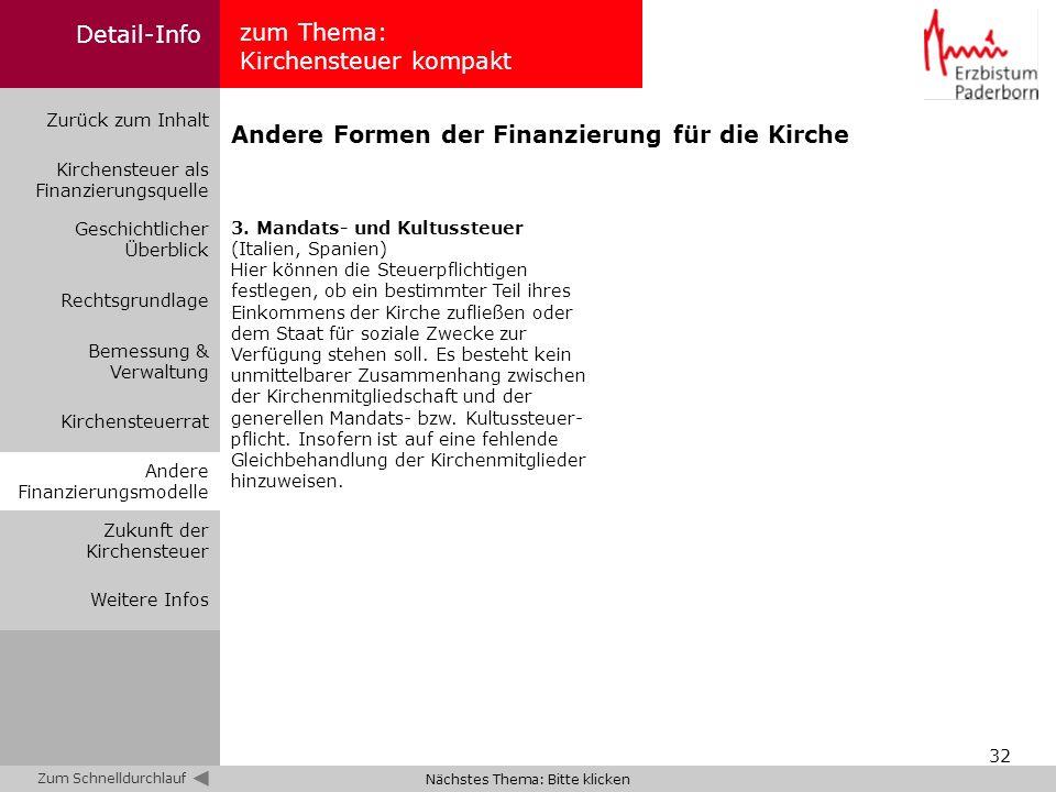 32 zum Thema: Kirchensteuer kompakt Zurück zum Inhalt Kirchensteuer als Finanzierungsquelle Bemessung & Verwaltung Geschichtlicher Überblick Rechtsgru