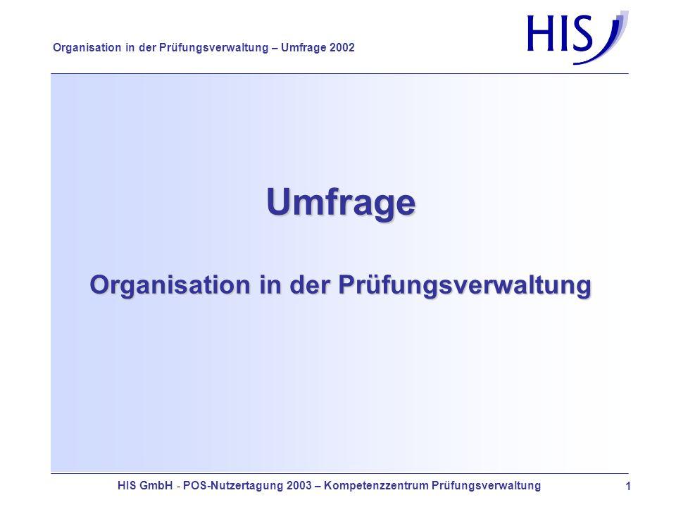 HIS GmbH - POS-Nutzertagung 2003 – Kompetenzzentrum Prüfungsverwaltung 12 Organisation in der Prüfungsverwaltung – Umfrage 2002 Geplante Änderung der Organisationsstruktur - Richtung 2 kleine, 6 mittlere, 4 große 2 mittlere, 10 große 7 kleine, 5 mittlere, 5 große