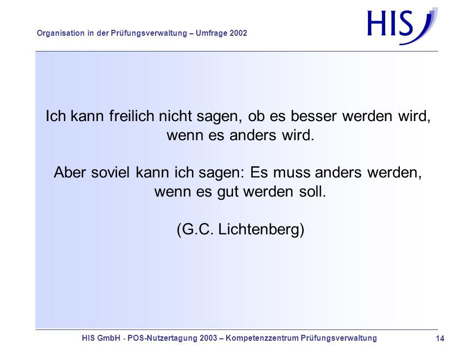 HIS GmbH - POS-Nutzertagung 2003 – Kompetenzzentrum Prüfungsverwaltung 14 Organisation in der Prüfungsverwaltung – Umfrage 2002 Ich kann freilich nicht sagen, ob es besser werden wird, wenn es anders wird.
