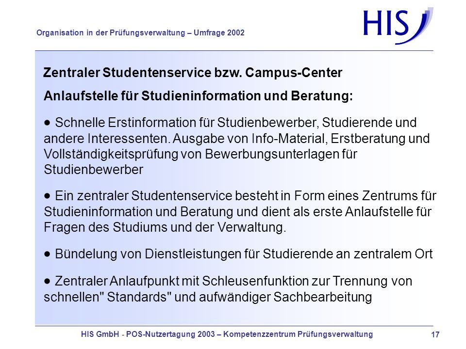 HIS GmbH - POS-Nutzertagung 2003 – Kompetenzzentrum Prüfungsverwaltung 17 Organisation in der Prüfungsverwaltung – Umfrage 2002 Zentraler Studentenservice bzw.