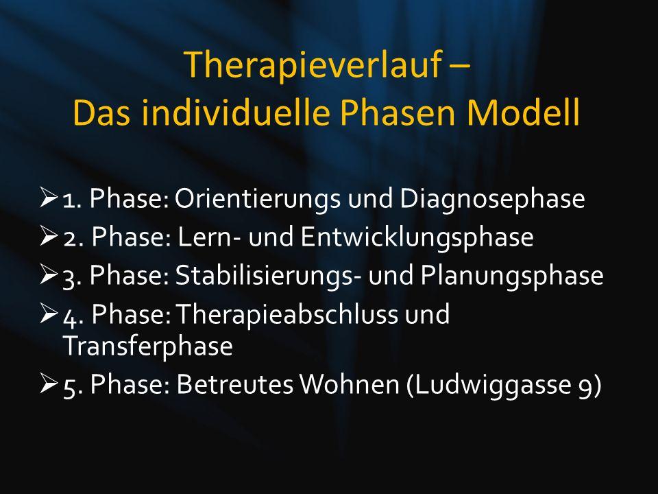 1. Phase: Orientierungs und Diagnosephase 2. Phase: Lern- und Entwicklungsphase 3. Phase: Stabilisierungs- und Planungsphase 4. Phase: Therapieabschlu