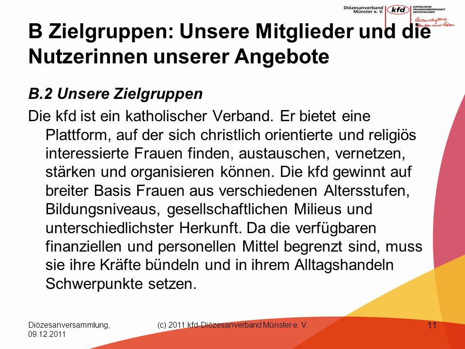 Diözesanversammlung, 09.12.2011 (c) 2011 kfd-Diözesanverband Münster e. V. 11 B Zielgruppen: Unsere Mitglieder und die Nutzerinnen unserer Angebote B.
