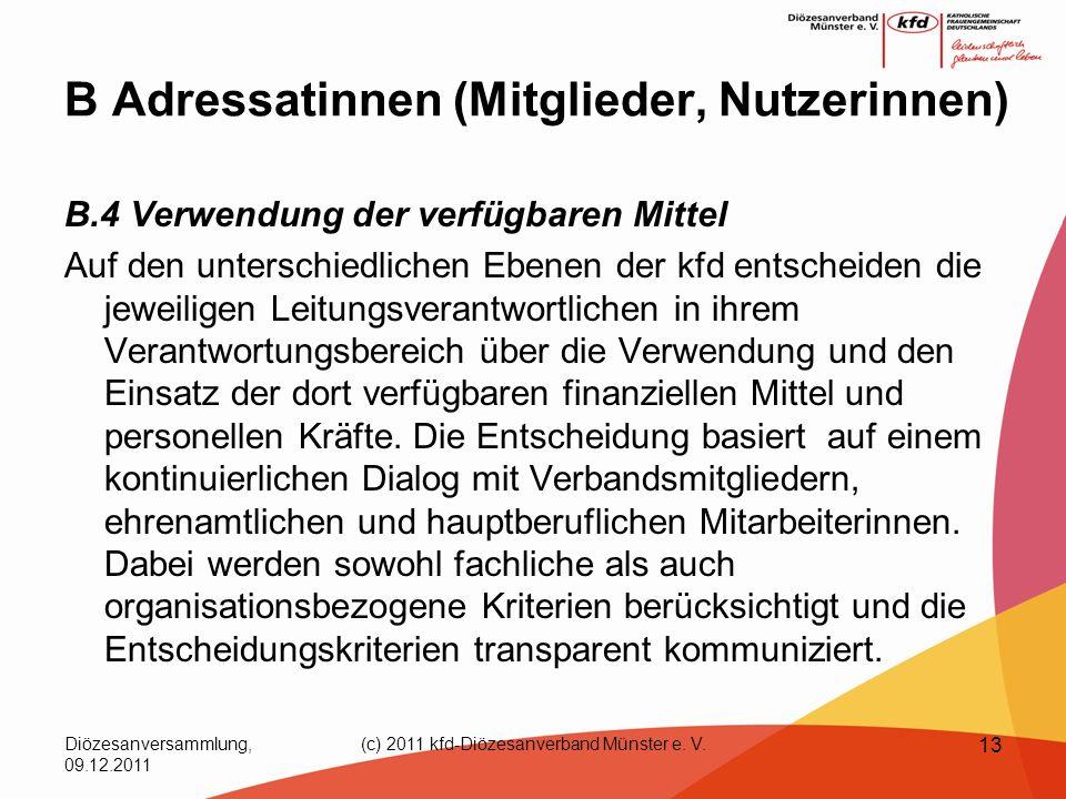 Diözesanversammlung, 09.12.2011 (c) 2011 kfd-Diözesanverband Münster e. V. 13 B Adressatinnen (Mitglieder, Nutzerinnen) B.4 Verwendung der verfügbaren