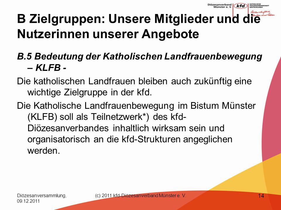 Diözesanversammlung, 09.12.2011 (c) 2011 kfd-Diözesanverband Münster e. V. 14 B Zielgruppen: Unsere Mitglieder und die Nutzerinnen unserer Angebote B.