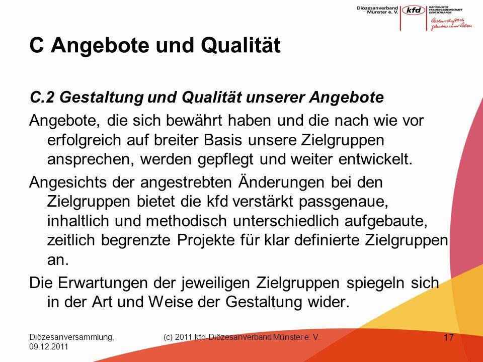 Diözesanversammlung, 09.12.2011 (c) 2011 kfd-Diözesanverband Münster e. V. 17 C Angebote und Qualität C.2 Gestaltung und Qualität unserer Angebote Ang