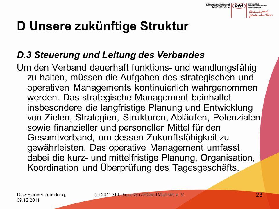 Diözesanversammlung, 09.12.2011 (c) 2011 kfd-Diözesanverband Münster e. V. 23 D Unsere zukünftige Struktur D.3 Steuerung und Leitung des Verbandes Um