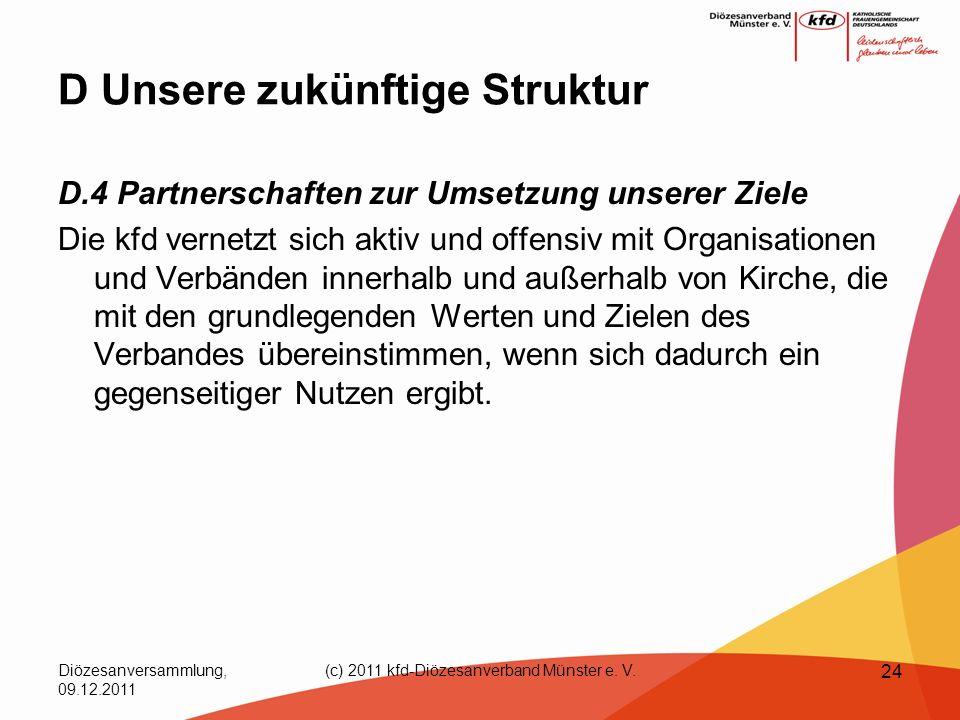 Diözesanversammlung, 09.12.2011 (c) 2011 kfd-Diözesanverband Münster e. V. 24 D Unsere zukünftige Struktur D.4 Partnerschaften zur Umsetzung unserer Z