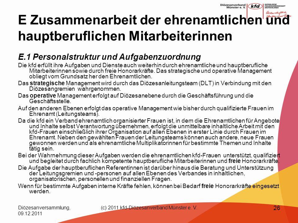 Diözesanversammlung, 09.12.2011 (c) 2011 kfd-Diözesanverband Münster e. V. 26 E Zusammenarbeit der ehrenamtlichen und hauptberuflichen Mitarbeiterinne