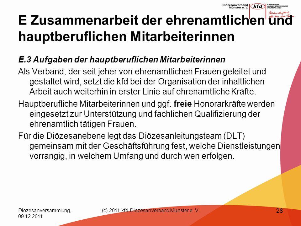 Diözesanversammlung, 09.12.2011 (c) 2011 kfd-Diözesanverband Münster e. V. 28 E Zusammenarbeit der ehrenamtlichen und hauptberuflichen Mitarbeiterinne