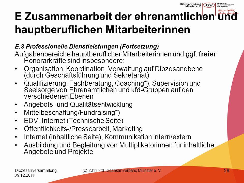 Diözesanversammlung, 09.12.2011 (c) 2011 kfd-Diözesanverband Münster e. V. 29 E Zusammenarbeit der ehrenamtlichen und hauptberuflichen Mitarbeiterinne