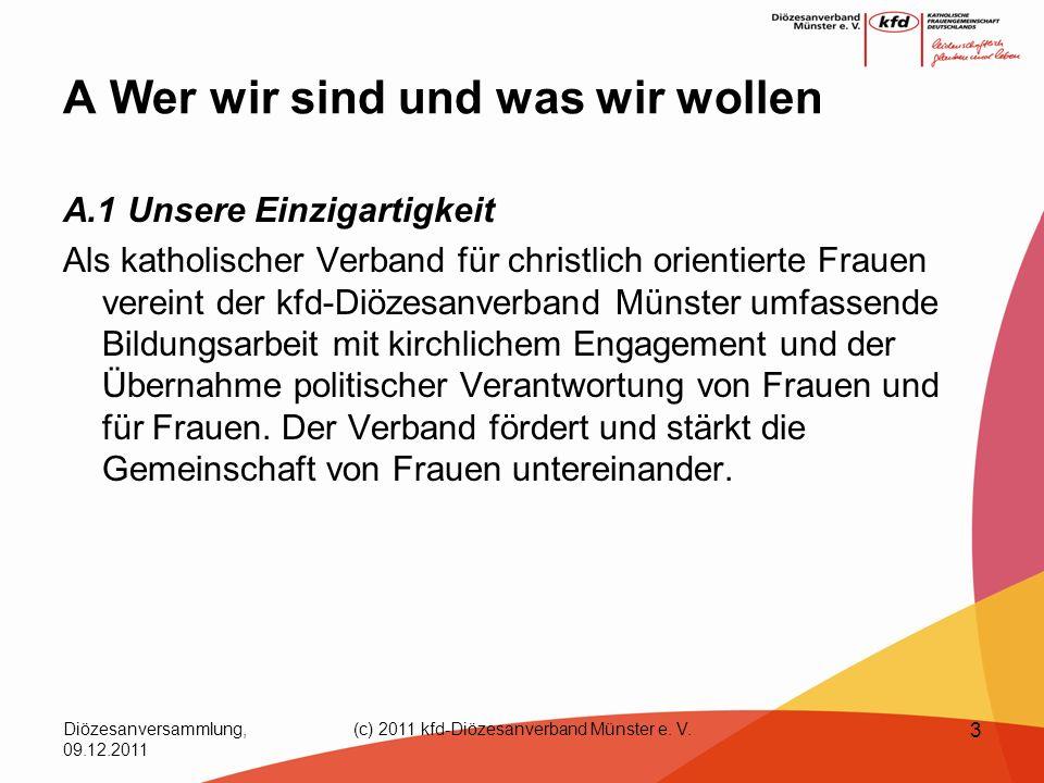 Diözesanversammlung, 09.12.2011 (c) 2011 kfd-Diözesanverband Münster e. V. 3 A Wer wir sind und was wir wollen A.1 Unsere Einzigartigkeit Als katholis