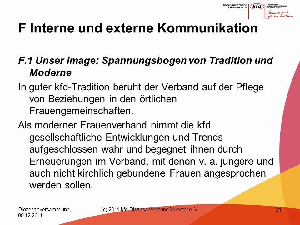 Diözesanversammlung, 09.12.2011 (c) 2011 kfd-Diözesanverband Münster e. V. 31 F Interne und externe Kommunikation F.1 Unser Image: Spannungsbogen von
