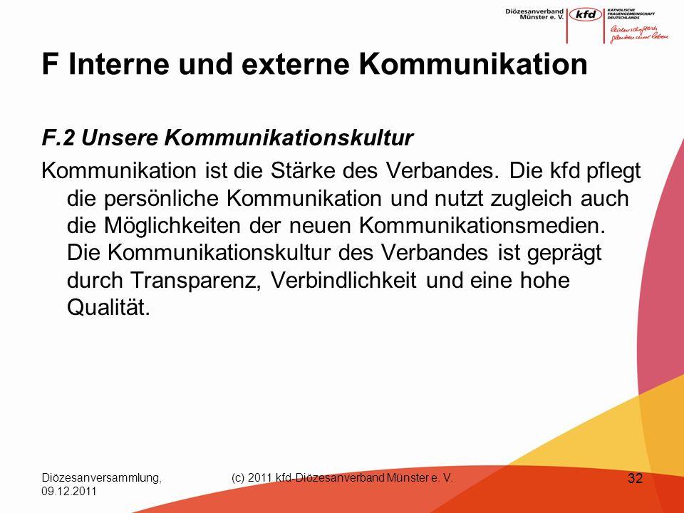Diözesanversammlung, 09.12.2011 (c) 2011 kfd-Diözesanverband Münster e. V. 32 F Interne und externe Kommunikation F.2 Unsere Kommunikationskultur Komm