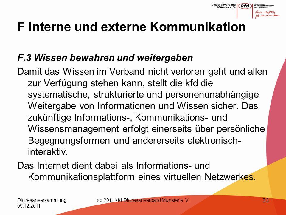 Diözesanversammlung, 09.12.2011 (c) 2011 kfd-Diözesanverband Münster e. V. 33 F Interne und externe Kommunikation F.3 Wissen bewahren und weitergeben