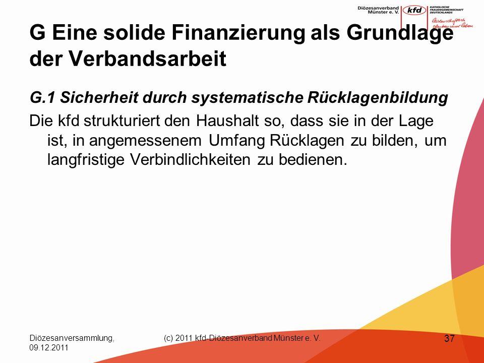 Diözesanversammlung, 09.12.2011 (c) 2011 kfd-Diözesanverband Münster e. V. 37 G Eine solide Finanzierung als Grundlage der Verbandsarbeit G.1 Sicherhe