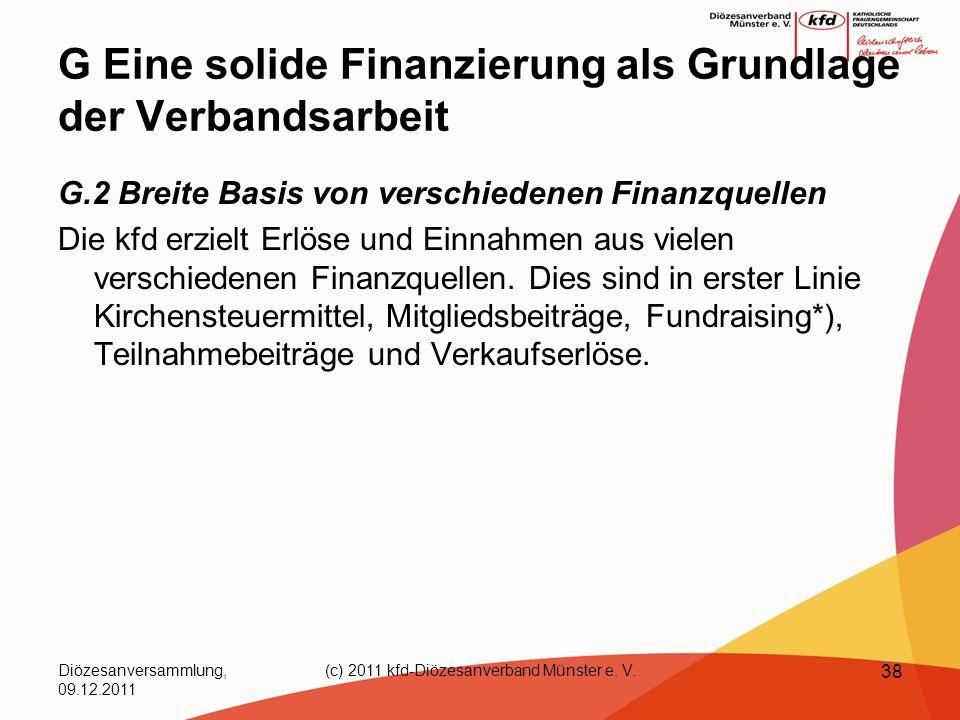 Diözesanversammlung, 09.12.2011 (c) 2011 kfd-Diözesanverband Münster e. V. 38 G Eine solide Finanzierung als Grundlage der Verbandsarbeit G.2 Breite B