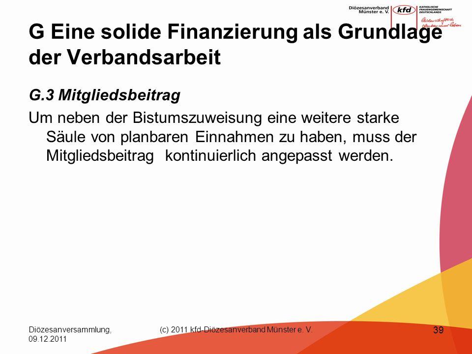 Diözesanversammlung, 09.12.2011 (c) 2011 kfd-Diözesanverband Münster e. V. 39 G Eine solide Finanzierung als Grundlage der Verbandsarbeit G.3 Mitglied