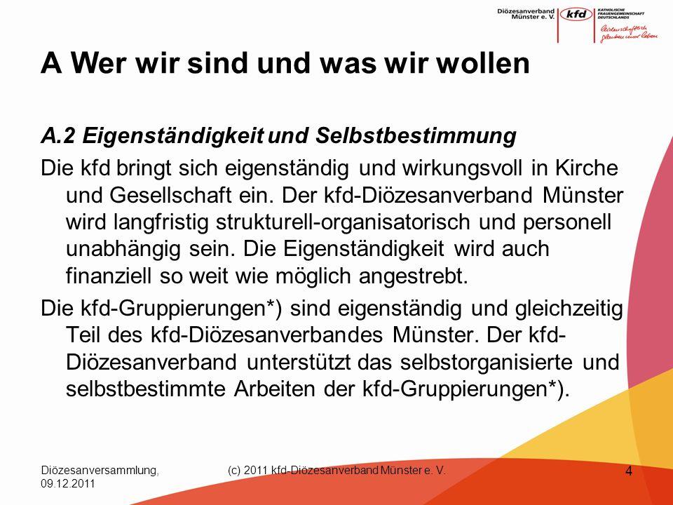 Diözesanversammlung, 09.12.2011 (c) 2011 kfd-Diözesanverband Münster e. V. 4 A Wer wir sind und was wir wollen A.2 Eigenständigkeit und Selbstbestimmu
