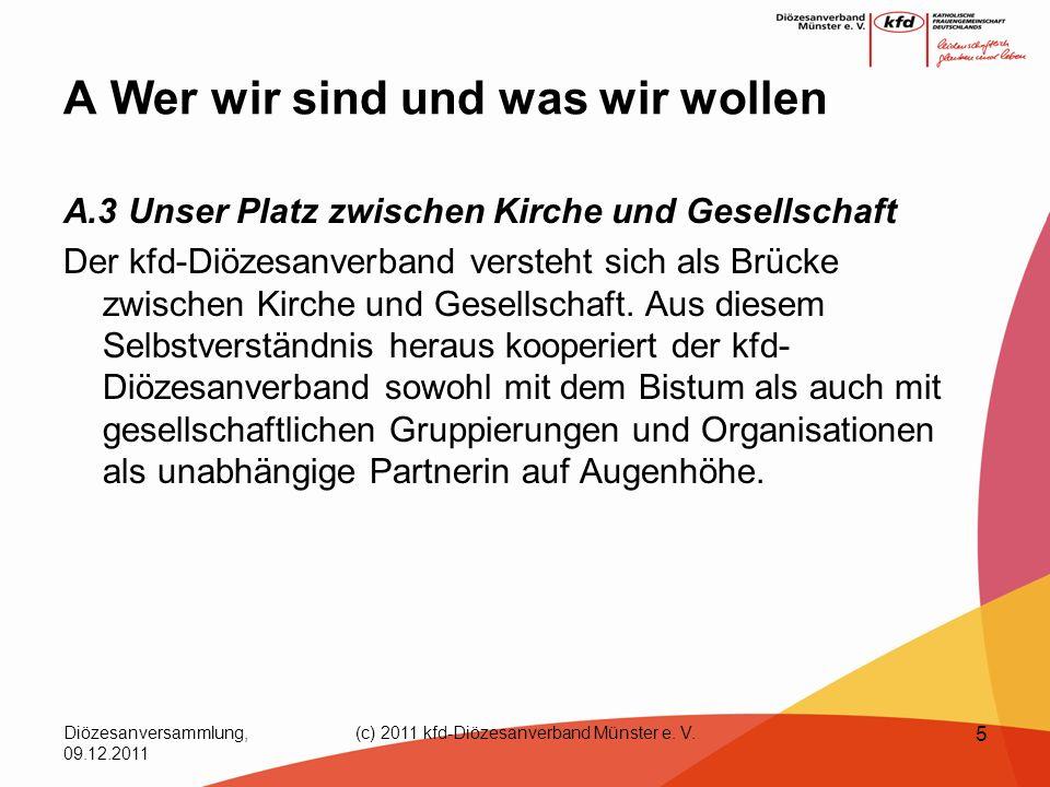 Diözesanversammlung, 09.12.2011 (c) 2011 kfd-Diözesanverband Münster e. V. 5 A Wer wir sind und was wir wollen A.3 Unser Platz zwischen Kirche und Ges