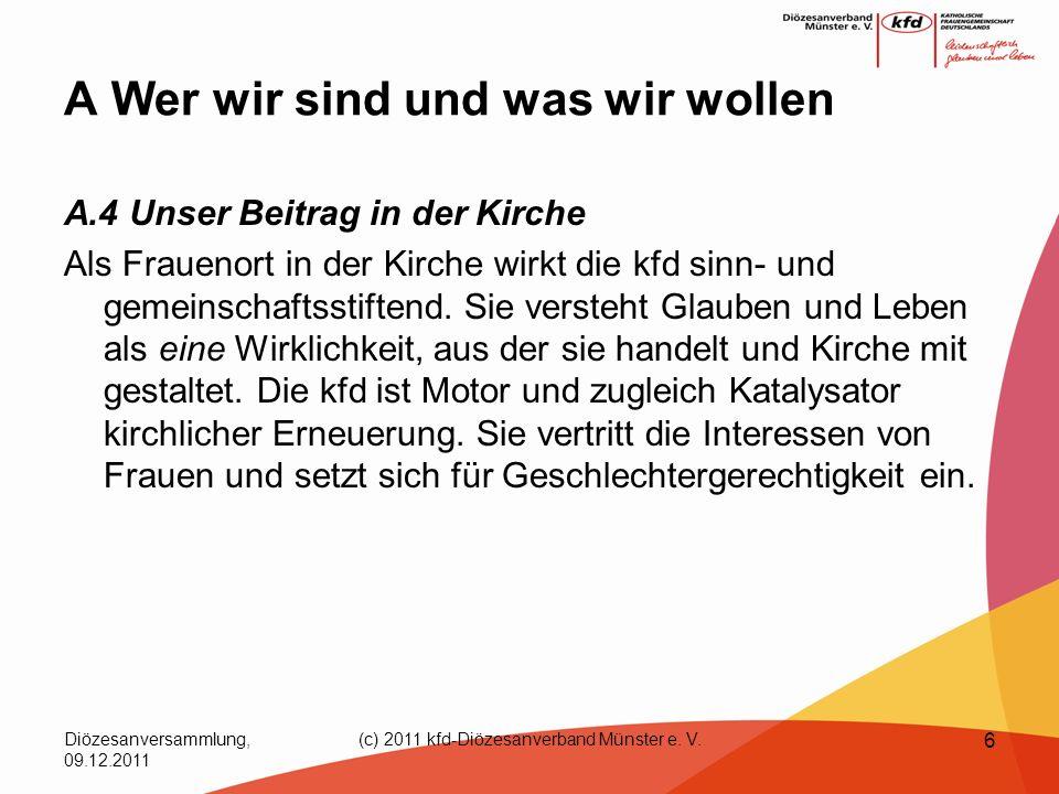 Diözesanversammlung, 09.12.2011 (c) 2011 kfd-Diözesanverband Münster e. V. 6 A Wer wir sind und was wir wollen A.4 Unser Beitrag in der Kirche Als Fra