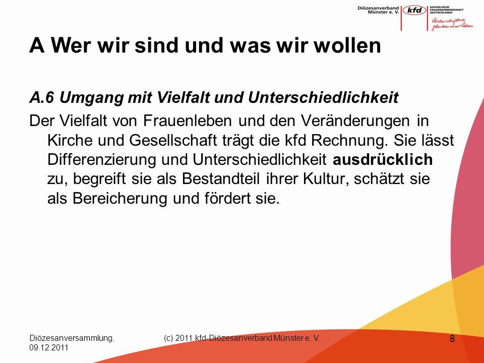 Diözesanversammlung, 09.12.2011 (c) 2011 kfd-Diözesanverband Münster e. V. 8 A Wer wir sind und was wir wollen A.6 Umgang mit Vielfalt und Unterschied