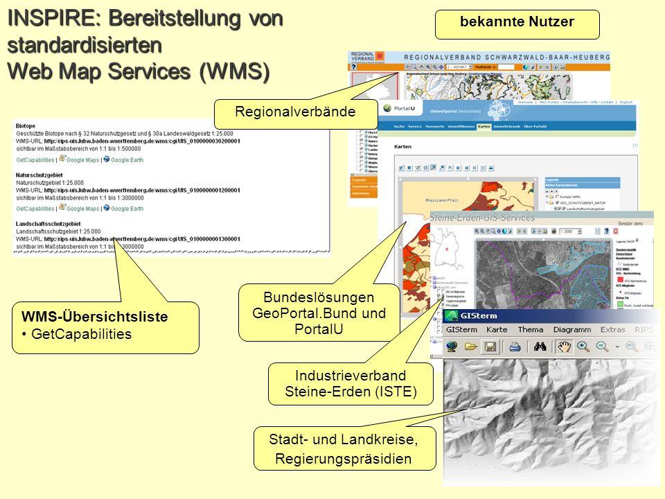 Folie 10 WPS-Workshop am 30.09.2010 in der LUBW Bundeslösungen GeoPortal.Bund und PortalU Industrieverband Steine-Erden (ISTE) Stadt- und Landkreise,