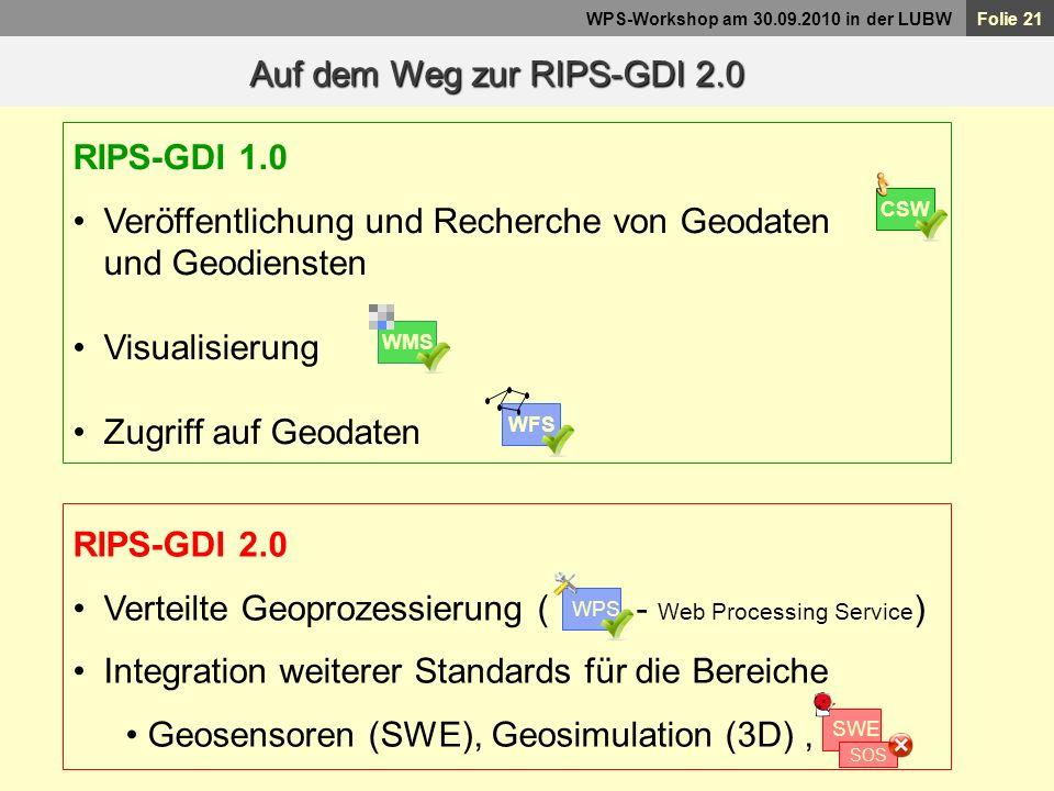 Folie 21 WPS-Workshop am 30.09.2010 in der LUBW Auf dem Weg zur RIPS-GDI 2.0 RIPS-GDI 1.0 Veröffentlichung und Recherche von Geodaten und Geodiensten