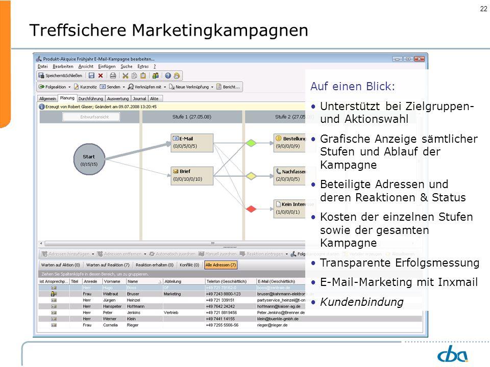 22 Treffsichere Marketingkampagnen Auf einen Blick: Unterstützt bei Zielgruppen- und Aktionswahl Grafische Anzeige sämtlicher Stufen und Ablauf der Ka