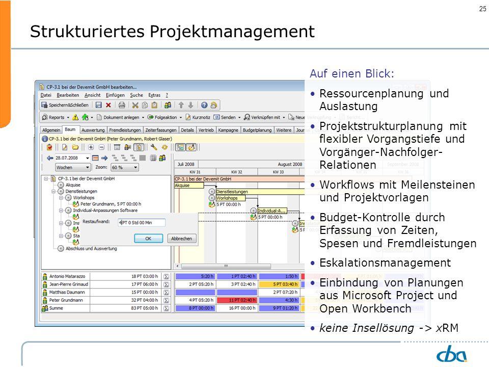 25 Vorstufe: Kann auch in der Akquisitionsphase stattfinden Strukturiertes Projektmanagement Auf einen Blick: Ressourcenplanung und Auslastung Projekt