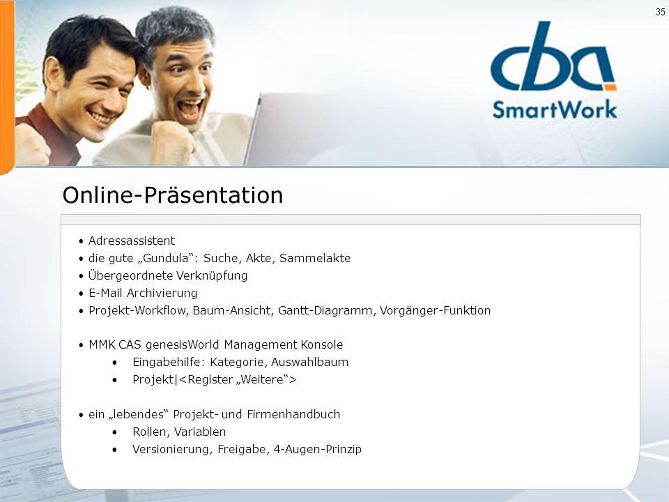 35 Online-Präsentation Adressassistent die gute Gundula: Suche, Akte, Sammelakte Übergeordnete Verknüpfung E-Mail Archivierung Projekt-Workflow, Baum-