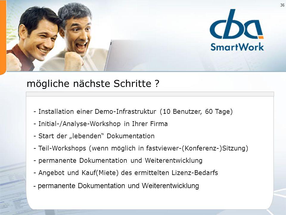 36 - Installation einer Demo-Infrastruktur (10 Benutzer, 60 Tage) - Initial-/Analyse-Workshop in Ihrer Firma - Start der lebenden Dokumentation - Teil
