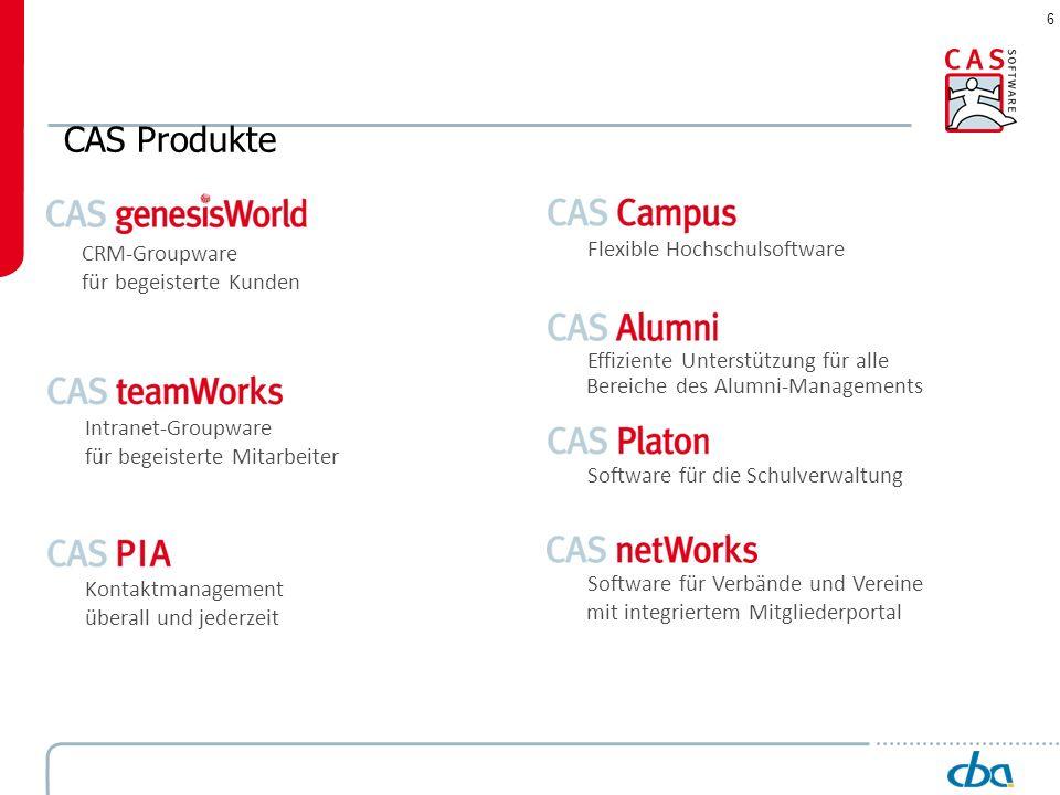 6 CAS Produkte CRM-Groupware für begeisterte Kunden Intranet-Groupware für begeisterte Mitarbeiter Kontaktmanagement überall und jederzeit Flexible Ho