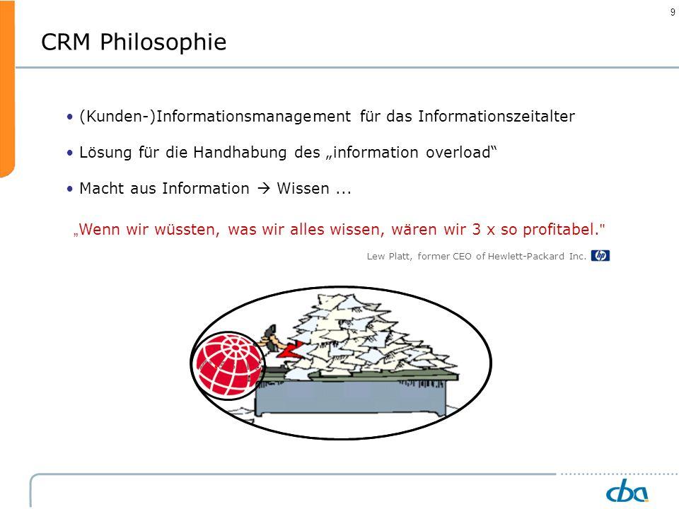9 Information (Kunden-)Informationsmanagement für das Informationszeitalter Lösung für die Handhabung des information overload Macht aus Information W