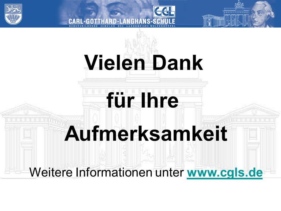Vielen Dank für Ihre Aufmerksamkeit Weitere Informationen unter www.cgls.dewww.cgls.de
