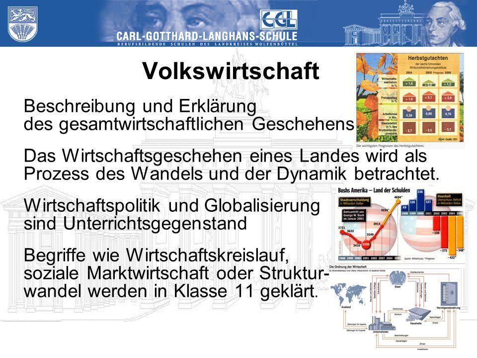 Volkswirtschaft Beschreibung und Erklärung des gesamtwirtschaftlichen Geschehens Das Wirtschaftsgeschehen eines Landes wird als Prozess des Wandels und der Dynamik betrachtet.
