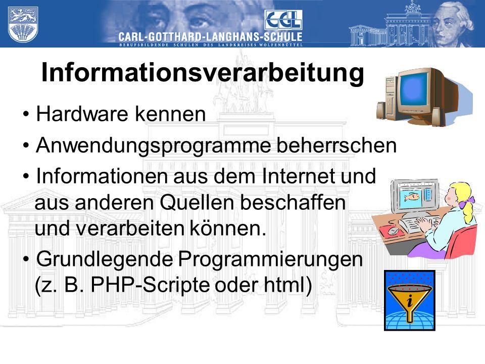 Informationsverarbeitung Hardware kennen Anwendungsprogramme beherrschen Informationen aus dem Internet und aus anderen Quellen beschaffen und verarbeiten können.