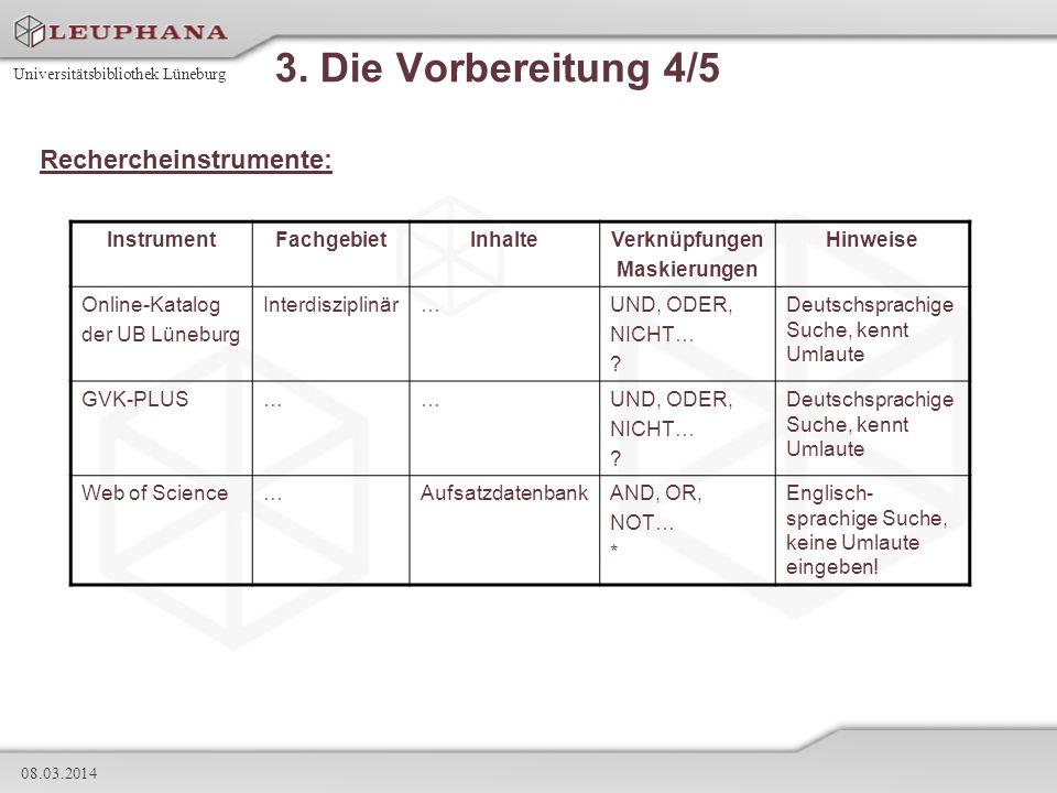 Universitätsbibliothek Lüneburg 08.03.2014 3. Die Vorbereitung 4/5 Rechercheinstrumente: InstrumentFachgebietInhalteVerknüpfungen Maskierungen Hinweis