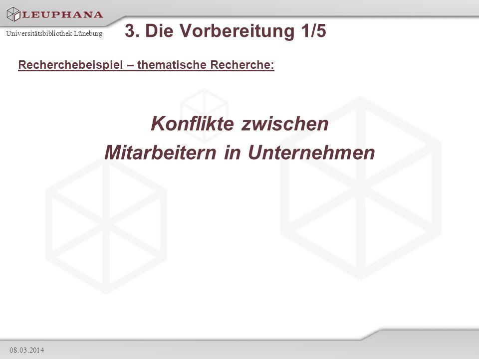 Universitätsbibliothek Lüneburg 08.03.2014 3. Die Vorbereitung 1/5 Recherchebeispiel – thematische Recherche: Konflikte zwischen Mitarbeitern in Unter