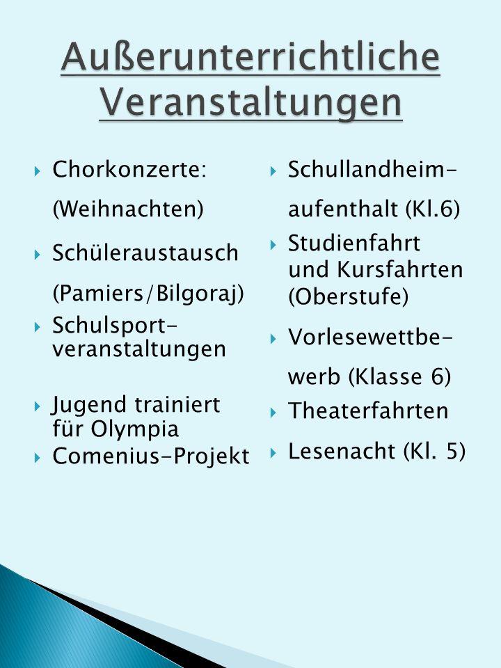 Chorkonzerte: (Weihnachten) Schüleraustausch (Pamiers/Bilgoraj) Schulsport- veranstaltungen Jugend trainiert für Olympia Comenius-Projekt Schullandheim- aufenthalt (Kl.6) Studienfahrt und Kursfahrten (Oberstufe) Vorlesewettbe- werb (Klasse 6) Theaterfahrten Lesenacht (Kl.