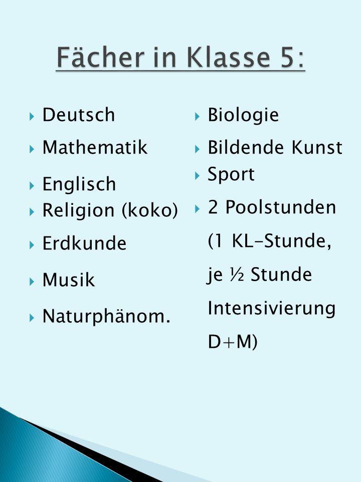 Deutsch Mathematik Englisch Religion (koko) Erdkunde Musik Naturphänom.